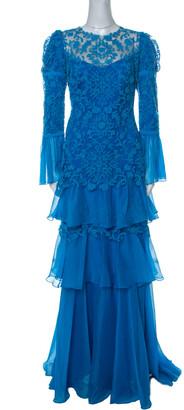 Tadashi Shoji Blue Chiffon & Lace Tiered Moreau Gown L