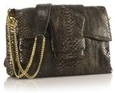 Nada Sawaya Paola Python Shoulder Flap Bag.