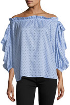 Robert Rodriguez Polka-Dot Off-the-Shoulder Top, Blue