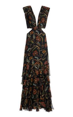 Johanna Ortiz Black Maiden Voyage Tiered Chiffon Dress