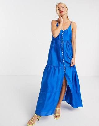 And other stories & recycled nylon tiered trapeze maxi dress in blue