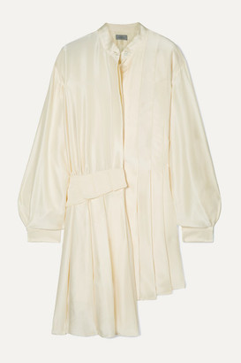 Preen by Thornton Bregazzi Kinesha Asymmetric Pleated Silk-satin Dress - White