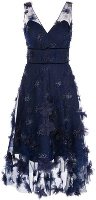 Marchesa Floral Detail High Low Dress