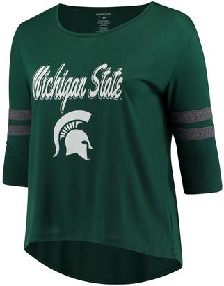 Women's Green Michigan State Spartans Plus Size Drop Tail 3/4-Sleeve Stripe T-Shirt