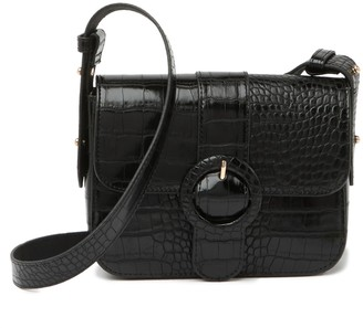 Most Wanted Design by Carlos Souza Crocodile Embossed Buckle Leather Crossbody Bag