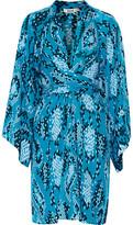 Issa Poppette Wrap-Effect Printed Silk-Georgette Dress