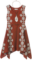 Knitworks Girls 7-16 Belted Handkerchief Hem Crochet Skater Dress with Necklace