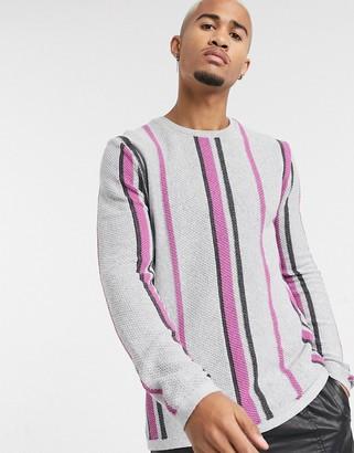 Asos Design DESIGN jumper in vertical stripe in grey-Black