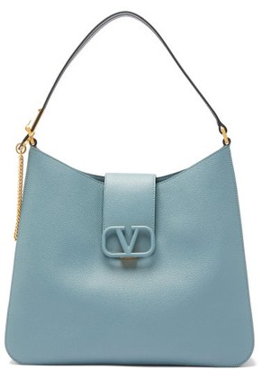 Valentino V-sling Large Grained-leather Shoulder Bag - Womens - Blue