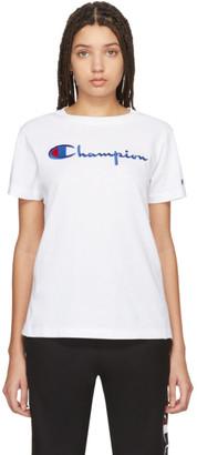 Champion Reverse Weave White Big Script T-Shirt