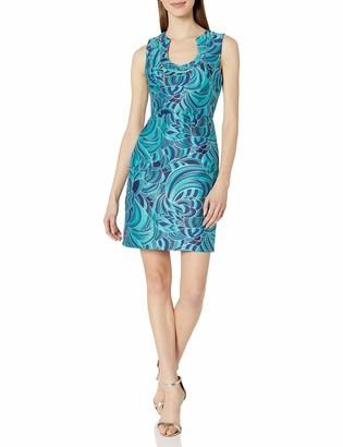 Trina Turk Women's Nash Botanical Jacquard Sleeveless Shift Dress