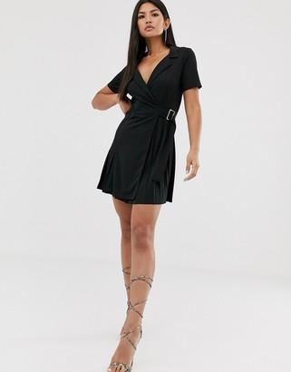 Asos DESIGN mini pleated shirt dress with buckle