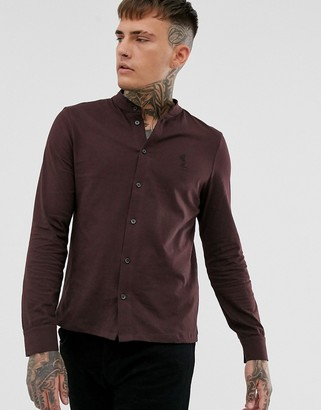 Religion slim fit jersey shirt with grandad collar in burgundy-Red