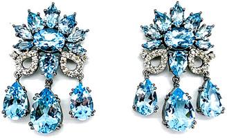 Arthur Marder Fine Jewelry Silver 0.60 Ct. Tw. Diamond & Blue Topaz Earrings