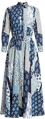 Oscar de la Renta Collared Poplin Patchwork Midi Dress