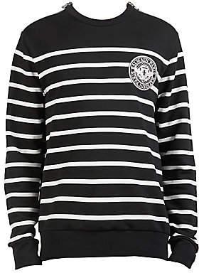 Balmain Men's Striped Patch Crewneck Sweater