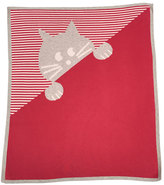 Lucky Jade Striped Kitty Cotton-Cashmere Baby Blanket, Fuchsia