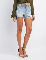 Charlotte Russe Destroyed High-Rise Shorts