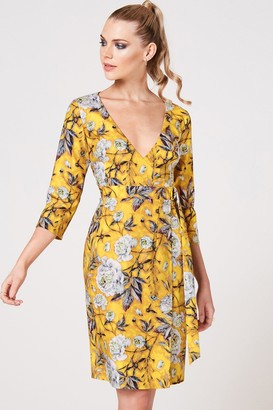 Paper Dolls Kato Mustard Floral-Print Wrap Dress