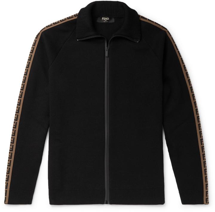 Fendi Logo-Jacquard Wool Zip-Up Track Jacket