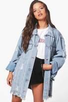 boohoo Zoe Oversize Extreme Cuff Distressed Denim Jacket