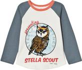 Stella McCartney White Owl Print Baseball Top