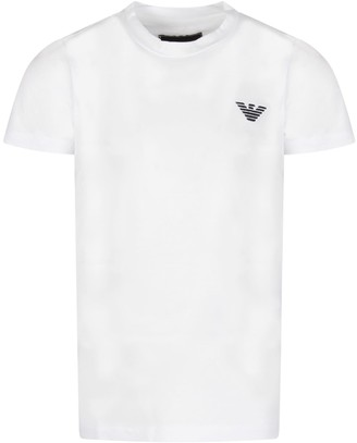 Emporio Armani Armani Collezioni White Boy T-shirt With Iconic Eagle