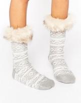 Asos Fairisle Lounge Sock With Faux Fur Topper