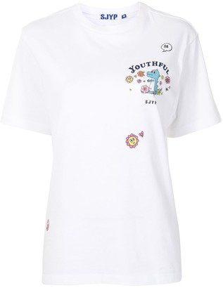 Sjyp Flower Play Dino cotton t-shirt
