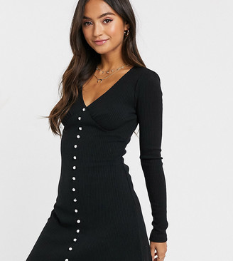 Wild Honey skater dress with faux pearl button front