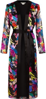 Under Armour Burnout Floral Print Satin Kimono Black