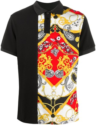 Versace Jeans Couture Short-Sleeved Baroque Print Polo Shirt