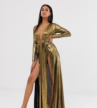 ASOS DESIGN metallic jersey plisse plunge front beach maxi dress with splits