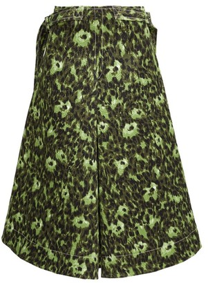 Marni Floral-print Cotton-cloque A-line Skirt - Green Multi