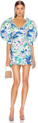 Alessandra Rich Floral Print Mini Bow Dress in Turquoise | FWRD