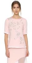 Prabal Gurung Embroidered Silk T-Shirt