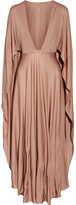 Valentino Cape-effect Silk-jersey Maxi Dress - Taupe