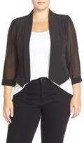 City Chic Plus Size Women's Chiffon Sleeve Crop Blazer