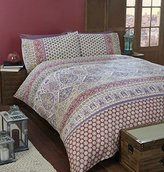 Art Moroccan Double Quilt Duvet Cover and 2 Pillowcase Bedding Linen Set, Polycotton, Red