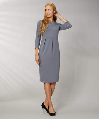 Vky & Co VKY & CO Women's Career Dresses GRAY - Gray Crepe-Knit Scoop Neck Midi Sheath Dress - Women & Plus