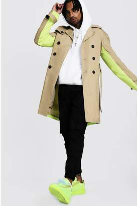 BEIGE BoohoomanBoohooMAN Mens Trench Coat With Contrast Colour,