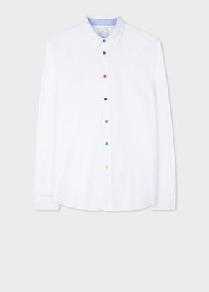 Paul Smith Men's Tailored-Fit White Cotton Shirt With Multi-Colour Button Placket