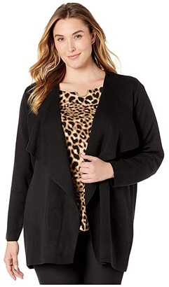 Calvin Klein Plus Plus Size Open Flyaway Cardigan (Black) Women's Sweater