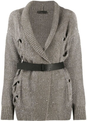 Fabiana Filippi Open Cable-Knit Belted Cardigan