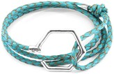 Anchor & Crew Turquoise Blue Storey Silver & Braided Leather Bracelet