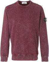 Stone Island Burgundy Cotton Fleece Back Crewneck Sweatshirt