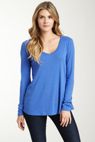 Three Dots Long Sleeve V-Neck Swing Top