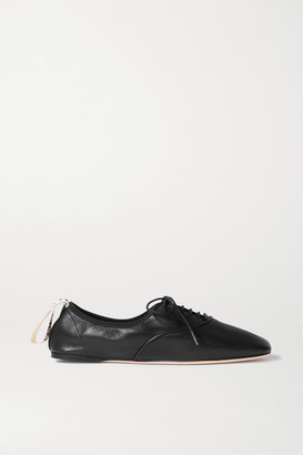 Loewe Logo-print Lace-up Leather Ballet Flats - Black