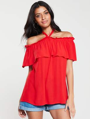 Very Strappy Bardot Top - Red