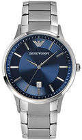 Emporio Armani Mens Stainless Steel Bracelet Watch with Blue Dial
